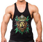 Men's King Of Weed Lion Black Stringer Tank Top Reggae Rasta Blunt Kush Cannabis