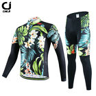 Men Vintage Floral Cycling Bicycle Long Sleeve Sport Suit Set Jersey Pants