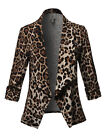 FashionOutfit Women's Solid/Print Stretch 3/4 Gathered Sleeve Open Blazer Jacket