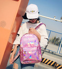 Girl's Sliver Holographic Laser Leather Backpack Travel Casual Satchel Travel