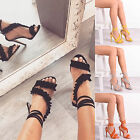 Ladies Womens Stiletto High Heel Frill Sandal Ankle Strap Peep Toe Party Shoes