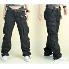 Women's Cargo Hip Hop Trousers Pants Loose Outdoor Military Pocket Retro Black