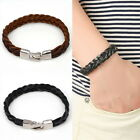 Men Leather Bracelet Fashion Braided Wristband Stainless Steel Clasp Black Brown