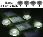 Solar Powered LED Lights Outdoor Round Ground Garden Walkway Pathway 4 or 8 PACK