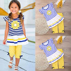 2pcs Kids Girls Summer Clothes Striped Flower T-Shirts Tops + Pants Outfits Sets