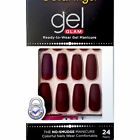 Gold Finger Gel Glam Manicure MATTE COFFIN 24 Nails MAUVE with pink gel glue
