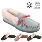 Ladies Womens Leather Suede Fur Slip On Moccasin Slippers Loafer House Shoe Size
