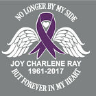 Cancer Awareness Ribbon Decal No Longer By My Side Forever Heart Window Sticker