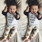 Toddler Kids Baby Girls Clothes Long Sleeve T-shirt Tops+Pants Outfits 2pcs Set