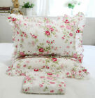 4PCS Floral Printed Red Roses Garden 100% Cotton Sheets & Ruffled Pillowcases image