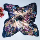 Women's Hijab Scarves Flower Printing  Silk-Satin Square Head Scarf 35