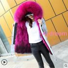Fox Fur Collar With Detachable  Lining Jacket Hooded Women Winter Military Parka