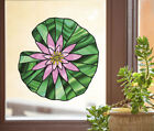 CLR:WND Waterlily Lilypad Lotus Stained Glass Style Vinyl Window Decal ©YYDC LG