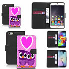 pu leather wallet case for many Mobile phones - loveheart owls