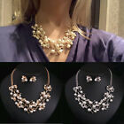 Fashion Women's Pearls Crystal Tree Leaves Bib Necklace Earring Jewelry Set Gift