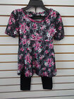Girls Pogo Club 2pc Black  Pink Lace Floral Set Size 7/8 - 14/16