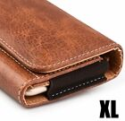 for XL LARGE Phones - BROWN Leather PU Pouch Holder Belt Clip Loop Holster Case