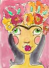 ACEO Folk Art Original Watercolor Jeanette Carlstrom Art Card Frida Kahlo ATC
