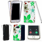 Shockproof 360° Silicone Clear case cover for many mobiles - green poinsettia.