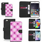 PU wallet flip case for many Mobile phones - tickled pink daisy