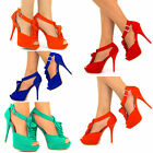 WOMENS RUFFLED SUEDETTE HEELS SHOES BRAND NEW SIZE