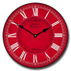 "Classic Red LARGE WALL CLOCK 10""- 48"" Whisper Quiet Non-Ticking WOOD HANDMADE"
