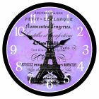 "Paris Love LARGE WALL CLOCK 10""- 48"" Whisper Quiet Non-Ticking WOOD HANDMADE"