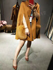 New 100% Real Genuine Wool Cape Poncho Coat Fox Fur Pockets Jacket Warm Winter