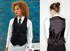 Ladies Lined Black Waistcoat with Satin Back Hospitality Catering Bar Restaurant