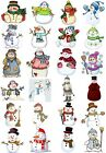24 Mixed Snowman Snowlady Christmas Large Sticky White Paper Stickers Labels NEW