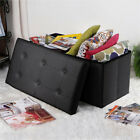 Practical PVC Leather Rectangle Shape Footstool Surface with Line Black-NEW
