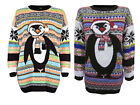 NEW WOMENS LADIES AZTEC PENGUIN FAIRISLE KNITTED CHRISTMAS XMAS JUMPER SWEATER