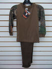 Boys True Timber Camo 2pc Brown L/S T-Shirt & Fleece Pants Set Size 6/7