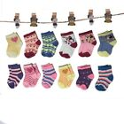 New Lot 12 Pairs Child Girls Kids Multi Color Sport Crew Socks Cotton Multi-Size