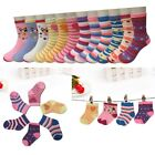 New Lot 12 Pairs Child Girls Kids Multi Color Sport Crew Socks Cotton Multi Size