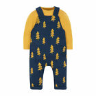 Mothercare Baby Newborn Boy's navy tree print Dungaree Shirt and Trouser Set