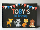 Woodland animals Guest Book, 1st Birthday,Option of Sign
