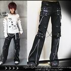punk heavy rock biker gang grommet strap bootcut pants w/ chains【JPK028】