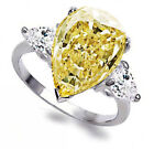Pear Cut 3.2ct White Yellow Topaz 925 Silver Wedding Engagement Ring Size 6-10