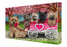 I Love Cairn Terrier Dogs in a Cart Canvas Wall Art