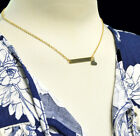 Gold Necklace Heart Straight Sideways Horizontal Bar Pendant Gift Celebrity