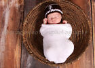 Lacy Bella Baby Football Beanie Hat Knit Crochet Brown with Laces