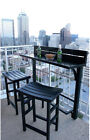 Bar Table And Chairs Set 3 Piece Balcony Height Portable Outdoor Patio Stools