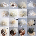 Ivory Lady Pillbox Hat Cap Fascinator Feather Hair Clip Cocktail Party Accessory