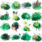 Green Women Pillbox Hat Fascinator Feather Hair Clip Cocktail Party Accessory