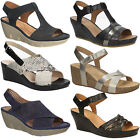 Women's Sandals CLARKS Summer Wedge Ladies Natural Leather Shoes