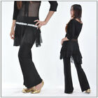 Tribal Belly Dance Costumes Pants Trousers Attached Skirt Black w Silver