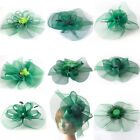 Green Lady Handmade Fascinator Feather Hair Clip Cocktail Party Hat Accessory