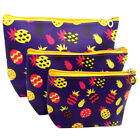 3PCS Printing Travel Cosmetic Makeup Bag Toiletry Wash Pouch Brush Holder WOW
