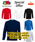 Fruit of the Loom LONG SLEEVE T Shirt 2 4 5 6 Pack Plain Tee Shirt Top Wholesale